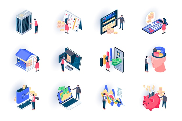 Conjunto de iconos isométricos de servicio bancario. cartera digital, análisis financiero y saldo, ilustración plana de transacción de dinero. pago con tarjeta de crédito pictogramas de isometría 3d con personajes de personas.