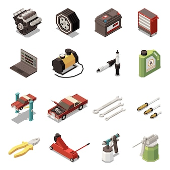 Conjunto de iconos isométricos de servicio de coche aislado con kit de herramientas de enchufe e ilustración de equipo