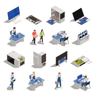 Conjunto de iconos isométricos de servicio de garantía de electrónica y electrodomésticos necesitan diagnóstico o reparación aislada