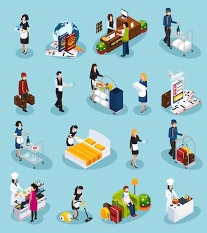 Conjunto de iconos isométricos de servicio de hotel