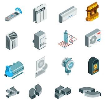 Conjunto de iconos isométricos de sistema de enfriamiento de calefacción