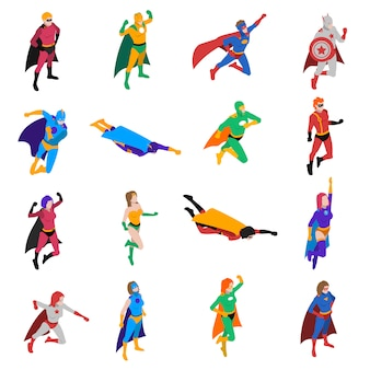 Conjunto de iconos isométricos superhéroe personaje popular
