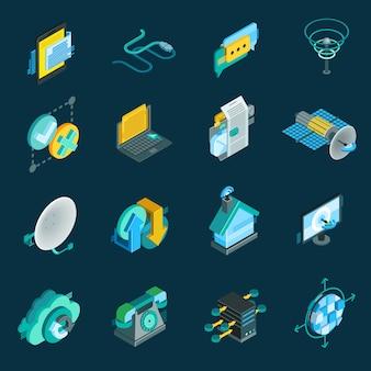 Conjunto de iconos isométricos de telecomunicaciones