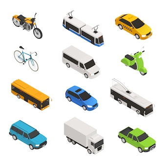 Conjunto de iconos isométricos de transporte de la ciudad con diferentes taxis aislados, bicicletas, motos, trolebuses, camionetas, ilustración vectorial
