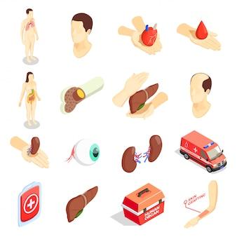 Conjunto de iconos isométricos de trasplante