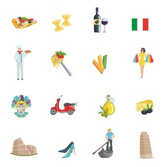 Conjunto de iconos de italia.