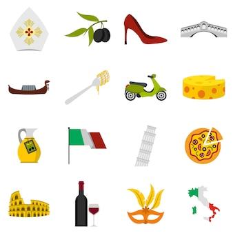Conjunto de iconos de italia