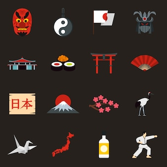 Conjunto de iconos de japon
