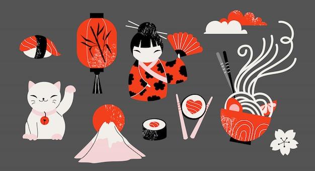 Conjunto de iconos japoneses tradicionales dibujados a mano.