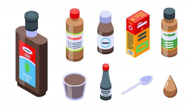 Conjunto de iconos de jarabe para la tos, estilo isométrico