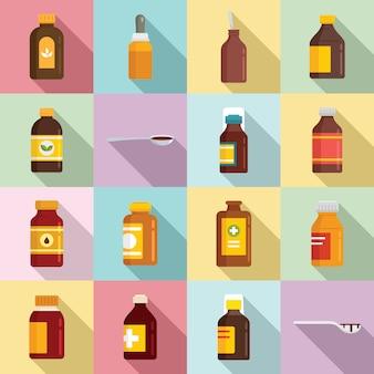 Conjunto de iconos de jarabe para la tos, estilo plano