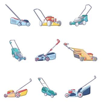 Conjunto de iconos de jardín de césped cortacésped