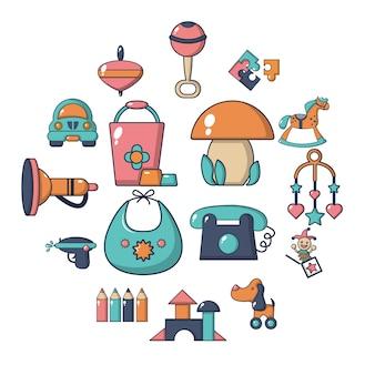 Conjunto de iconos de jardín de infantes, estilo de dibujos animados
