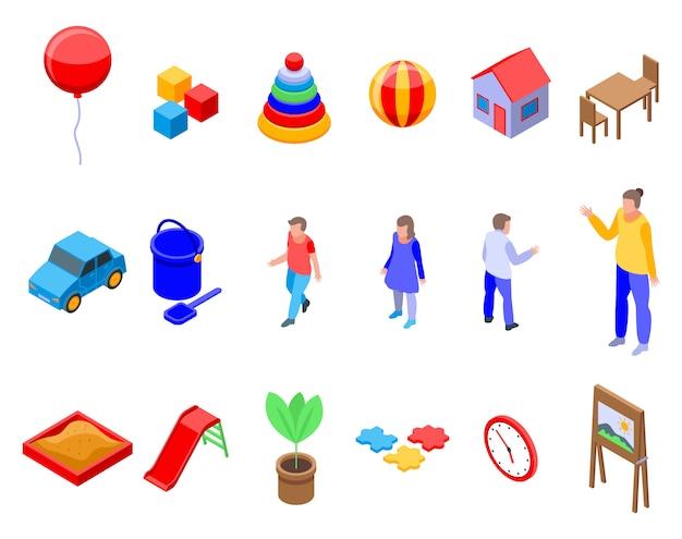 Conjunto de iconos de jardín de infantes, estilo isométrico