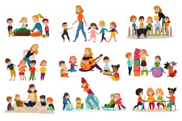 Conjunto de iconos de jardín de infantes