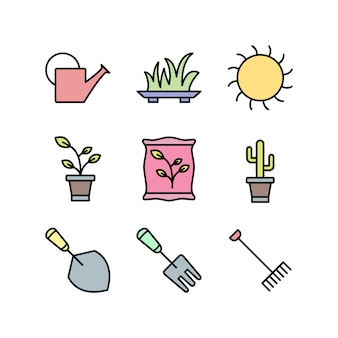 Conjunto de iconos de jardinería aislado sobre fondo blanco.