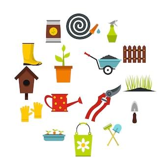 Conjunto de iconos de jardinería, estilo plano