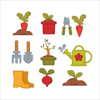 Conjunto de iconos de jardinería de granja o herramientas de jardín.