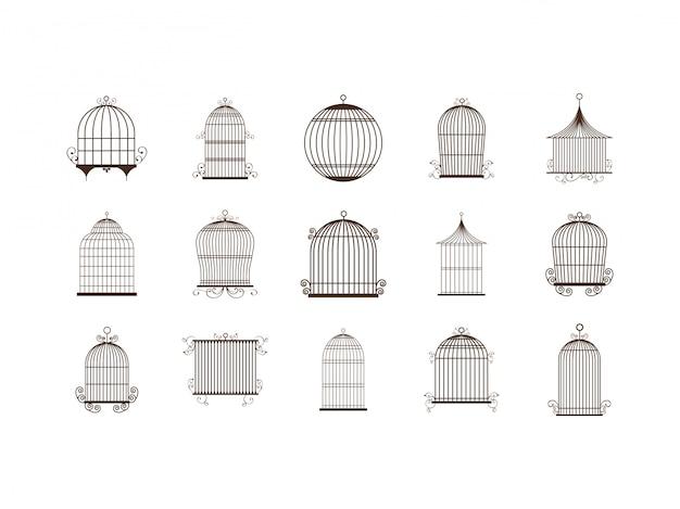 Conjunto de iconos de jaula de pájaros aislados