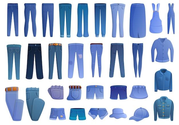 Conjunto de iconos de jeans, estilo de dibujos animados