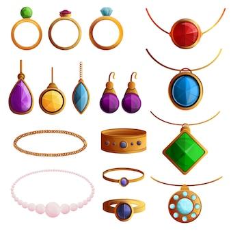 Conjunto de iconos de joyería. conjunto de dibujos animados de iconos de vector de joyería para diseño web