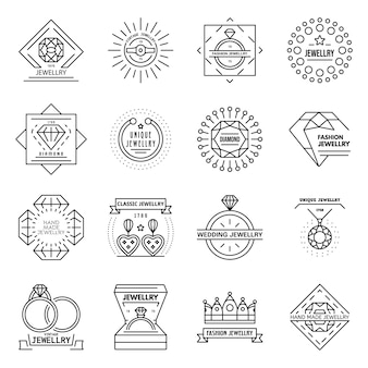 Conjunto de iconos de joyería. esquema conjunto de iconos de vector de joyería