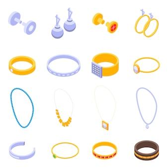 Conjunto de iconos de joyería, estilo isométrico