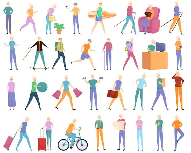 Conjunto de iconos de jubilación, estilo de dibujos animados