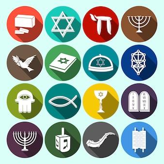 Conjunto de iconos de judaísmo plano
