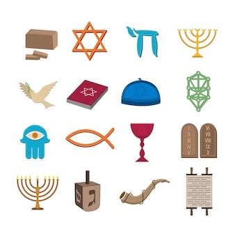 Conjunto de iconos de judaísmo