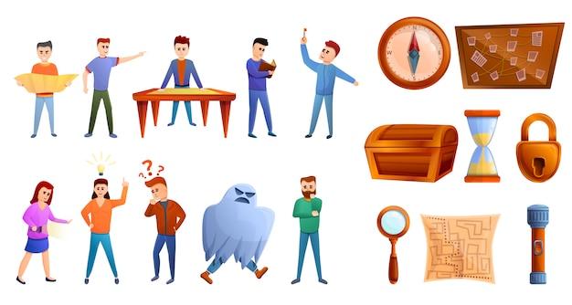 Conjunto de iconos de juego de búsqueda, estilo de dibujos animados