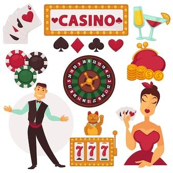 Conjunto de iconos de juego en el casino.