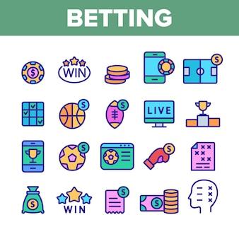 Conjunto de iconos de juego de fútbol de apuestas