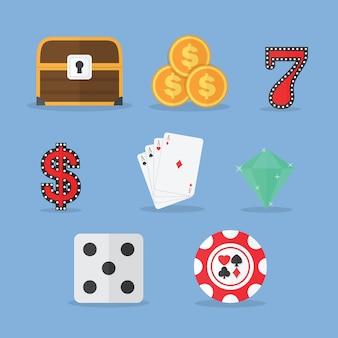 Conjunto de iconos de juego y tragamonedas