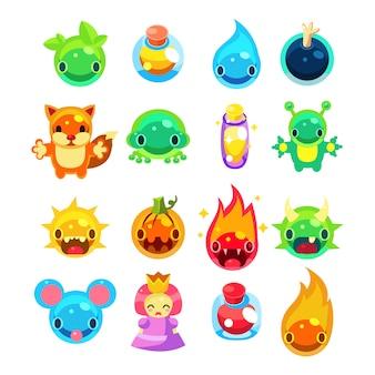 Conjunto de iconos de juegos de computadora.