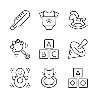 Conjunto de iconos de juguetes, alimentación y cuidado del bebé. estilo de línea.