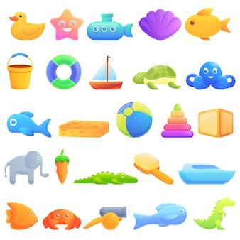 Conjunto de iconos de juguetes de baño, estilo de dibujos animados