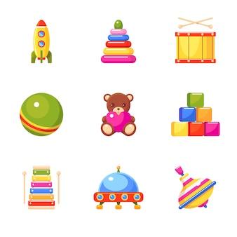 Conjunto de iconos de juguetes para niños. pelota, pirámide, cohete, xilófono, bloques de juguete, tambor, ovni, perinola y oso. colección para niños pequeños. ilustración colorida