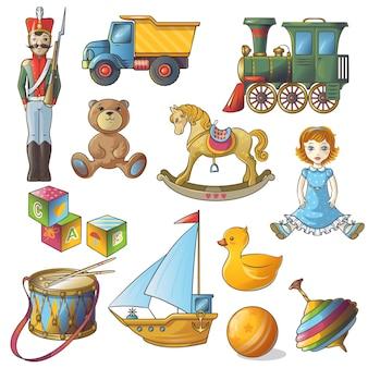 Conjunto de iconos de juguetes para niños