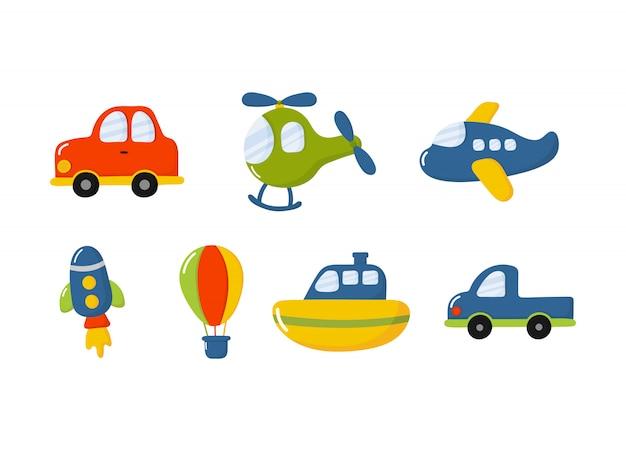 Conjunto de iconos de juguetes de transporte de dibujos animados. autos, barco, helicóptero, cohete, globo y avión aislados