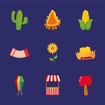 Conjunto de iconos de junina