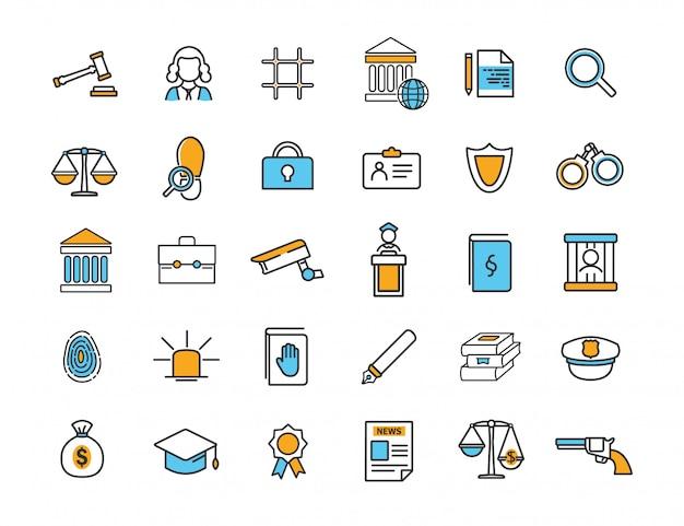 Conjunto de iconos de jurisprudencia lineal iconos de derecho