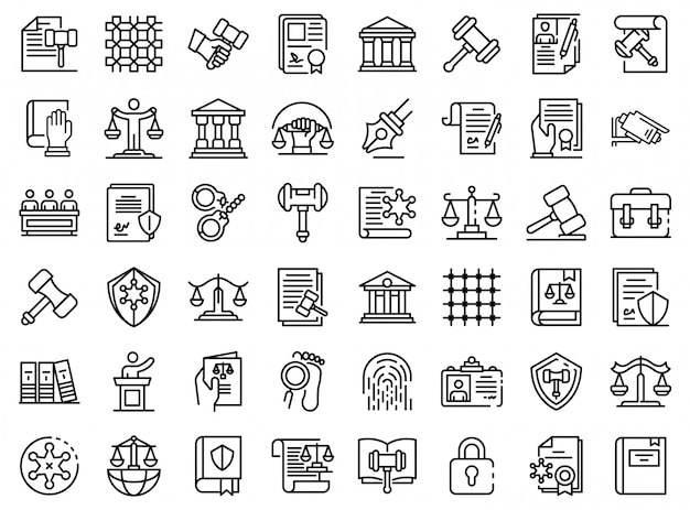 Conjunto de iconos de justicia, estilo de contorno