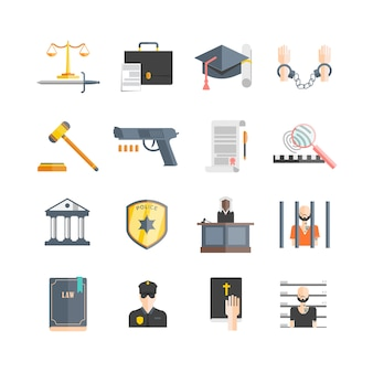 Conjunto de iconos de justicia