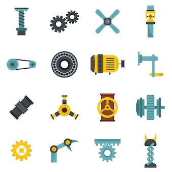 Conjunto de iconos de kits de mecanismos tecnológicos en estilo plano.