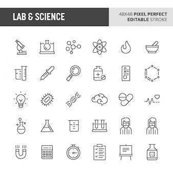 Conjunto de iconos de laboratorio y ciencia