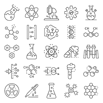 Conjunto de iconos de laboratorio de química. conjunto de esquema de iconos de vector de laboratorio de química