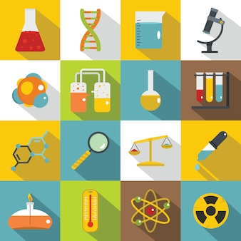 Conjunto de iconos de laboratorio químico, estilo plano