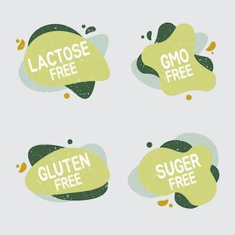 Conjunto de iconos sin lactosa. la placa de alimentos no contiene una etiqueta de lactosa para un paquete de productos alimenticios lácteos saludables. signos vectoriales para diseño de envases, cafeterías, insignias de restaurantes, etiquetas.