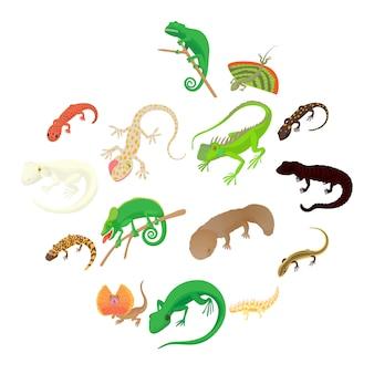 Conjunto de iconos de lagarto, estilo de dibujos animados